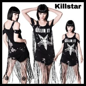 Killstar KILLIŃ IT Wicked fringed jersey dress XS